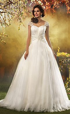 A-line Princess Queen Anne Sweep/Brush Train Tulle Wedding ... – USD $ 299.99