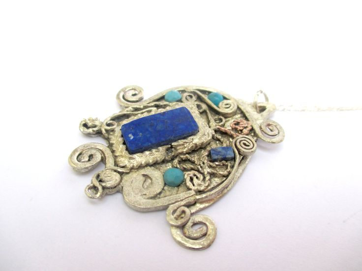 Reclaimed Antique Lapis Lazuli & Turquoise Necklace by Picossa on Etsy