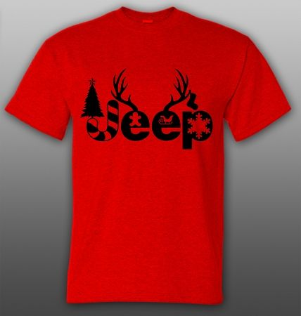 JEEP Christmas Shirt - Green with Red Letters or Red with Green Letters!