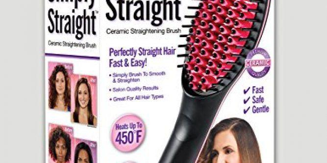 Simply Straight Ceramic Hair Straightening Brush, Black/Pink  Professional Ceramic Hair Straightener Brush – Iron Comb.  http://www.hairanbeauty.com/simply-straight-ceramic-hair-straightening-brush-blackpink/