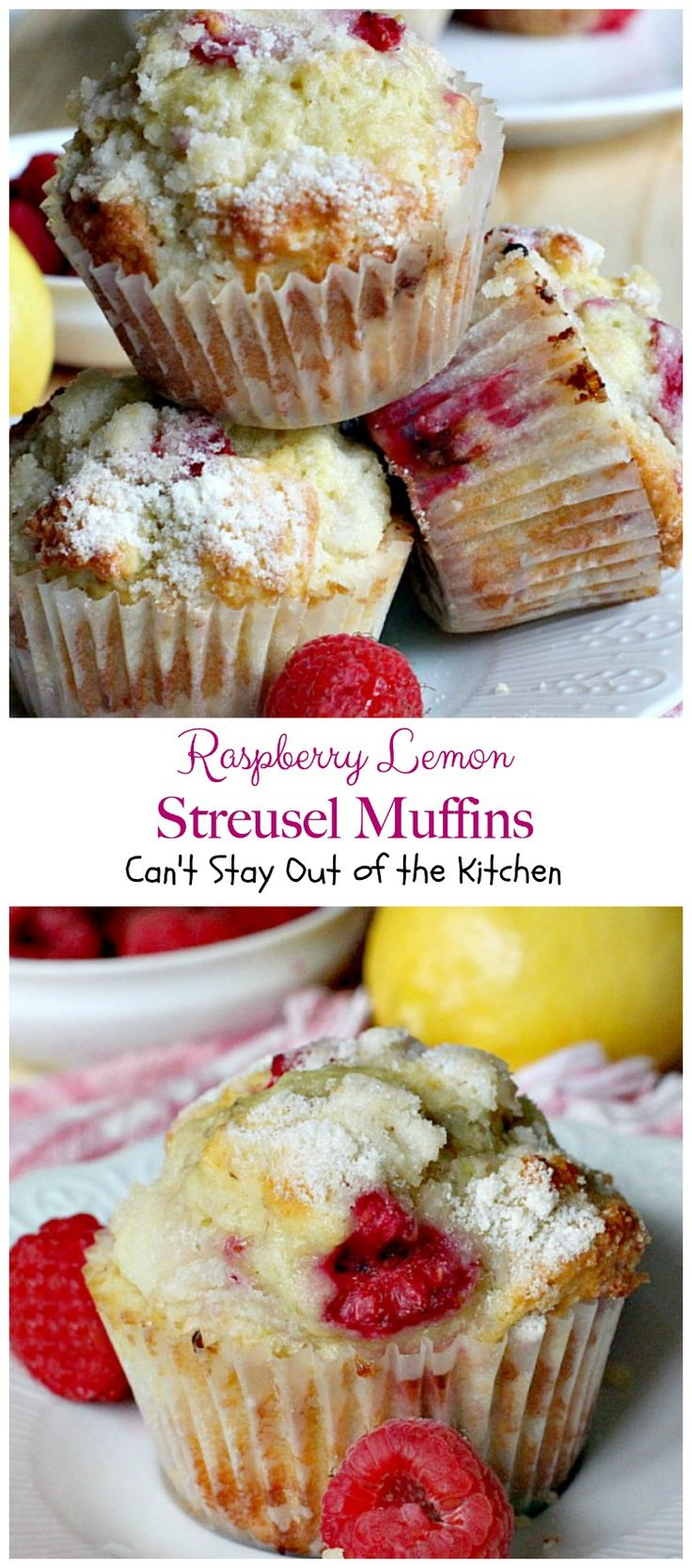 Festive muffins are great for a holiday breakfast. Raspberries, lemon peel and lemon yogurt along with a streusel topping make for one scrumptious muffin.