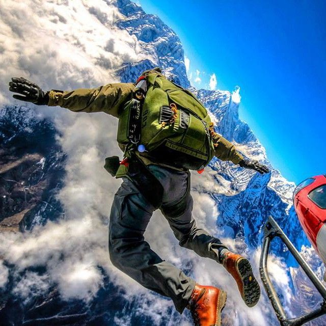 Happy Birthday Marines! This is a CORE Team member jumping a MMPS chute in Nepal and landing at a DZ 12,500ft above sea level. This is to our knowledge the highest landing by a Marine using the MMPS chute. #getoutthere