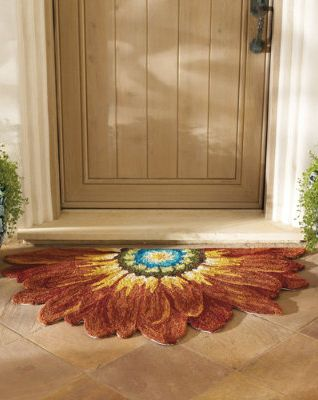 Our hand-hooked Half Round Dahlia Mat adds beauty to an entryway and leaves grime & 452 best Rugs and Doormats images on Pinterest | Door rugs Doormats ...