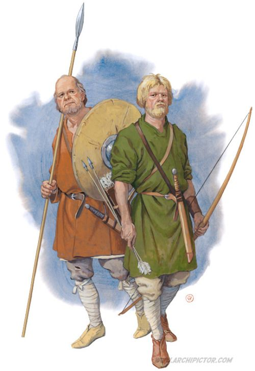 Two Saxon warriors - realistic portrayal of the sort of warrior farmers who entered the former Roman province of Britannia in numbers, in the fifth century AD.