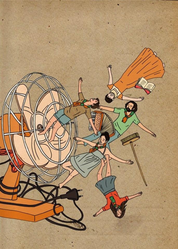 ריקי מוספי חמור אוכל תפוז הצגה · woman illustrationillustrations p