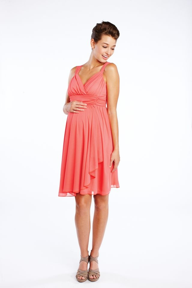 Cute comfy and coral faux wrap maternity dress from for Cute maternity dress for wedding