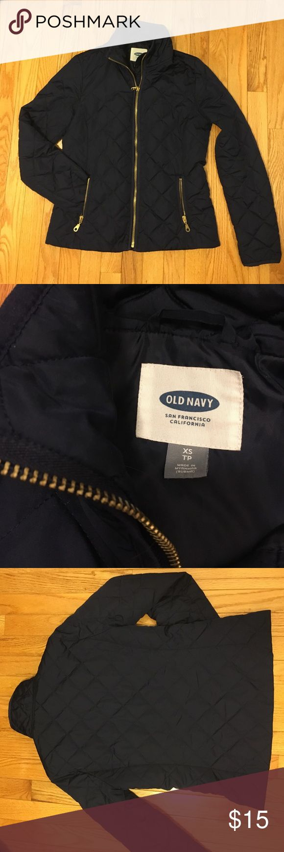 Old Navy Quilted Navy Jacket Classic navy quilted jacket in great condition. Only flaw is a small stain on the back of the collar (pictured). Gold zipper and 2 zipper pockets. Zippers show slight wear Old Navy Jackets & Coats