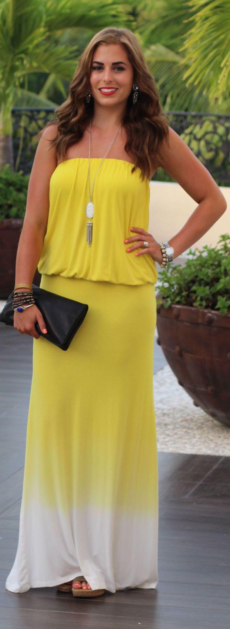 Young, Fabulous & Broke Yellow Tie Dye Chiffon Off The Shoulder Maxi Dress