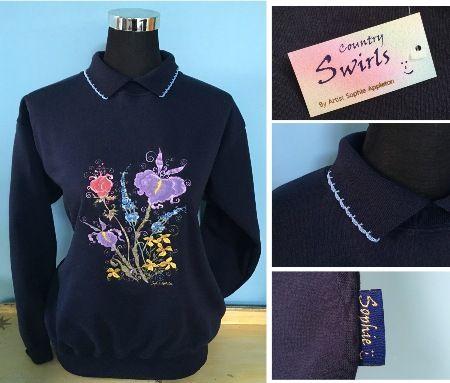 Flower sweater with collar www.countryswirls.com