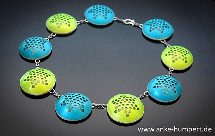 https://flic.kr/p/Tbc1KC | Teal and Limegreen Stars | Teal and limegreen stars - a necklace I have not breviously shared. I created this one in January 17 for a show.  Polymer clay and metal.