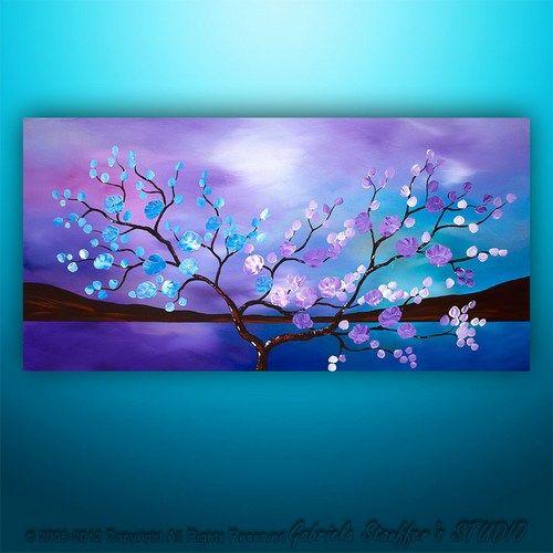 Original Modern Landscape Asian Tree Blossom Textured Painting Art