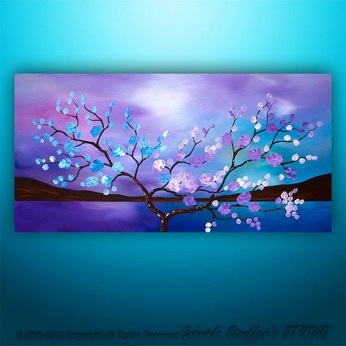 Original Modern Landscape Asian Tree Blossom Textured Painting Art. Purples blues
