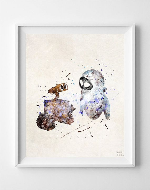 Wall E Print Eva Watercolor Art Disney Poster by InkistPrints