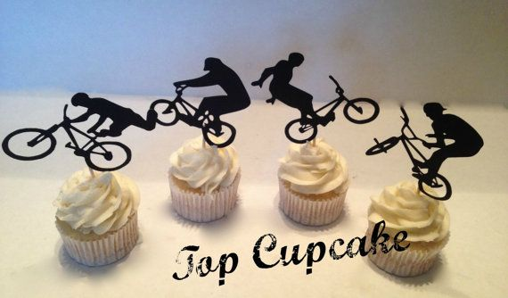 BMX Bicycle Cupcake Toppers by TopCupcake on Etsy