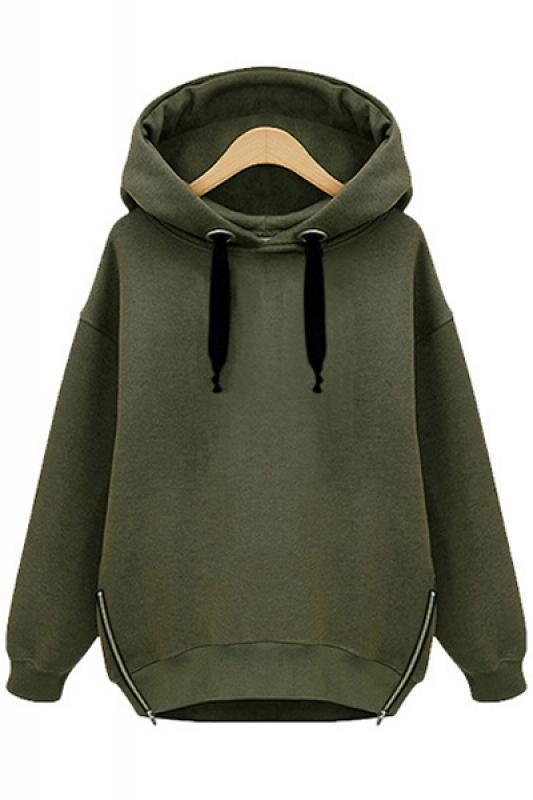 Zippers Decorated Loose Long Sleeve Hoodie Sweatshirt