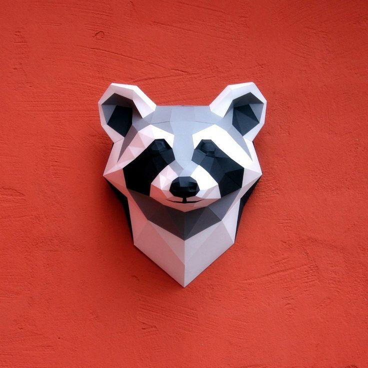 Papercraft Raccoon Head Printable Diy Template Paper Animals Paper Crafts Paper Art