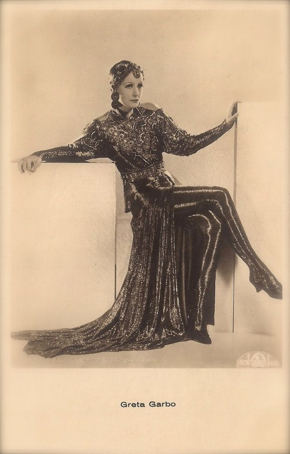 Greta Garbo, Famous Hollywood Swedish Actress as Mata Hari, The Mysterious Exotic Spy Original Rare 1930s Art Deco American Photo Postcard