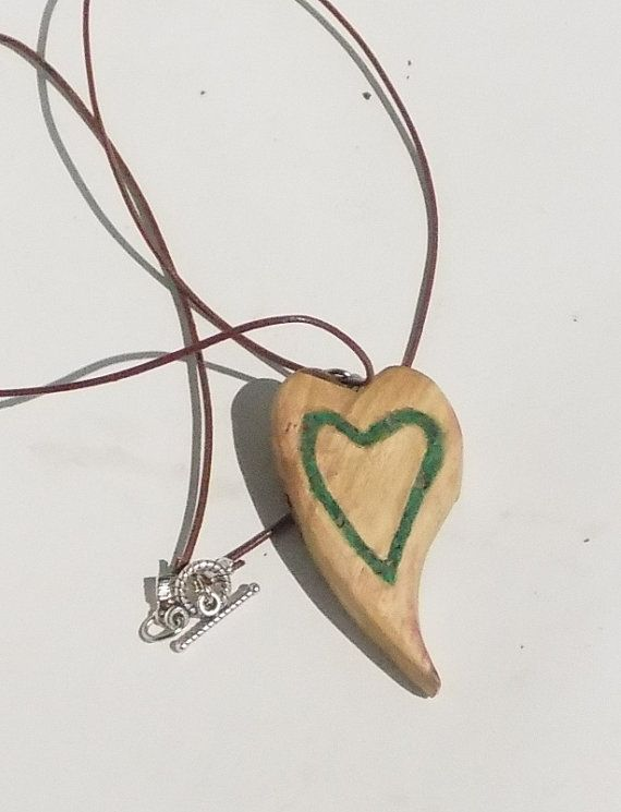 Wild Wood Heart pendant with heart Malachite Inlay,necklace, Handmade,OOAK, Oak Wood with Semi-precious Stone, Silver Binding and Latches
