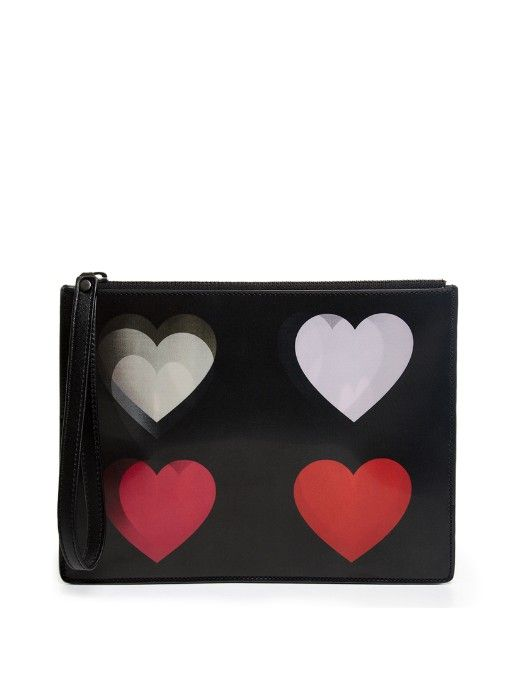 Christopher Kane Lenticular four hearts leather pouch