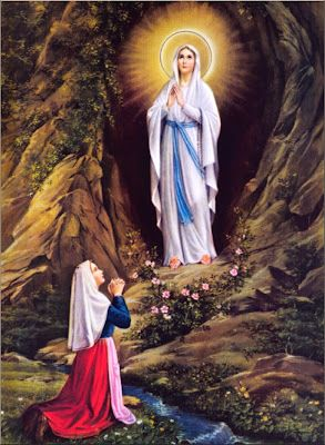"""""""Behold, I am the Immaculate Conception""""  Today marks the first apparition of the Blessed Virgin Mary in 1858 to St. Bernadette Soubirous. Between February 11 and July 16, 1858, the Blessed Mother appeared to a poor, uneducated, sickly fourteen-year-old Marie Bernade (St. Bernadette) times in the in the hollow of the rock at Lourdes, called """"de Massabielle""""."""