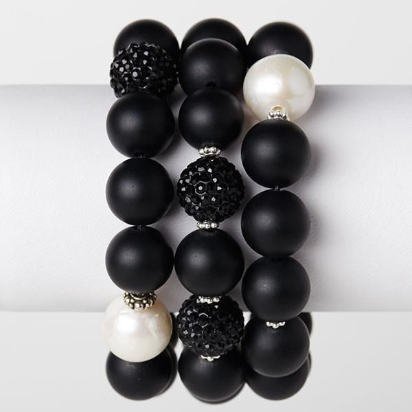 Onyx and Freshwater Pearl Bracelet Set of 3 – Joie DiGiovanni