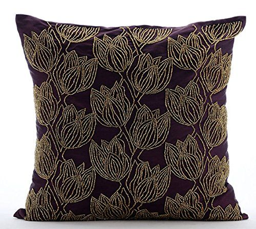 Handmade Purple Cushion Covers, Beaded Gold Tulips Flower... https://www.amazon.co.uk/dp/B016H8W9IE/ref=cm_sw_r_pi_dp_x_ElKxybNCAHYZP