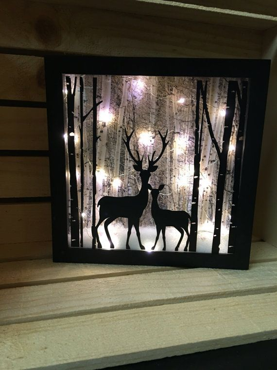 Deer Lighted Shadow Box 8x8 Night Light Christmas Decor Christmas Shadow Boxes Diy Shadow Box Deer Light