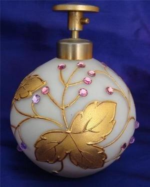 Vintage White Glass Perfume Bottle by VanityPlume