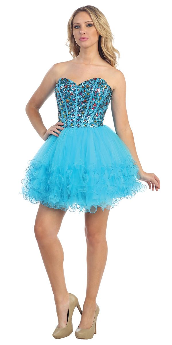 Sparkly Jewel Beading Strapless Sweetheart Corset Style