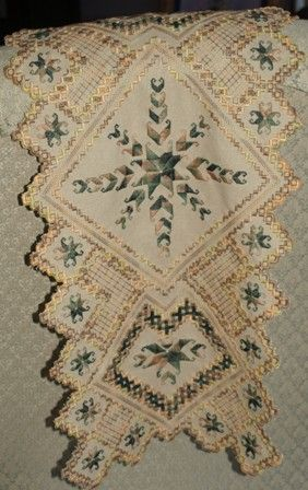 Hardanger project on 25 ct. Mushroom Lugana fabric w/ Caron floss. I won Judges Choice with this project at the county fair.