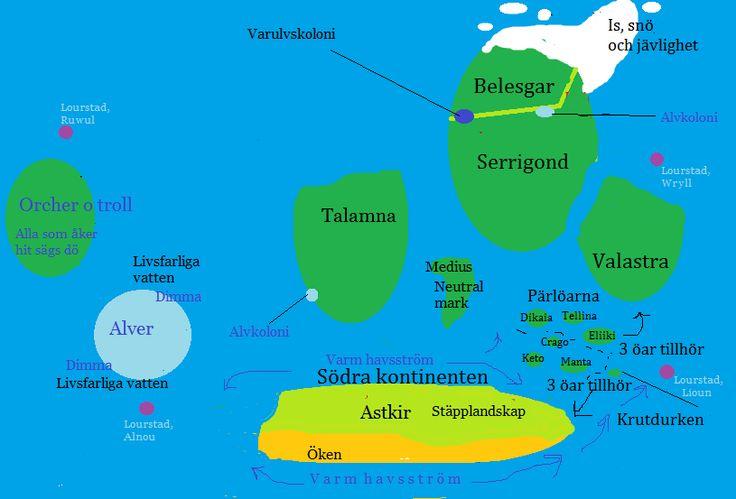 Första utkastet till världskartan (en snyggare är planerad).