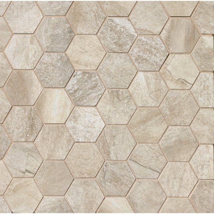 Stone Mountain 2 X 2 Porcelain Mosaic Tile In Alabaster