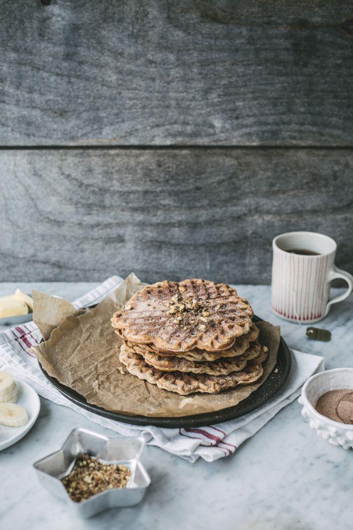 whole grain banana bread waffles with cinnamOn sugar
