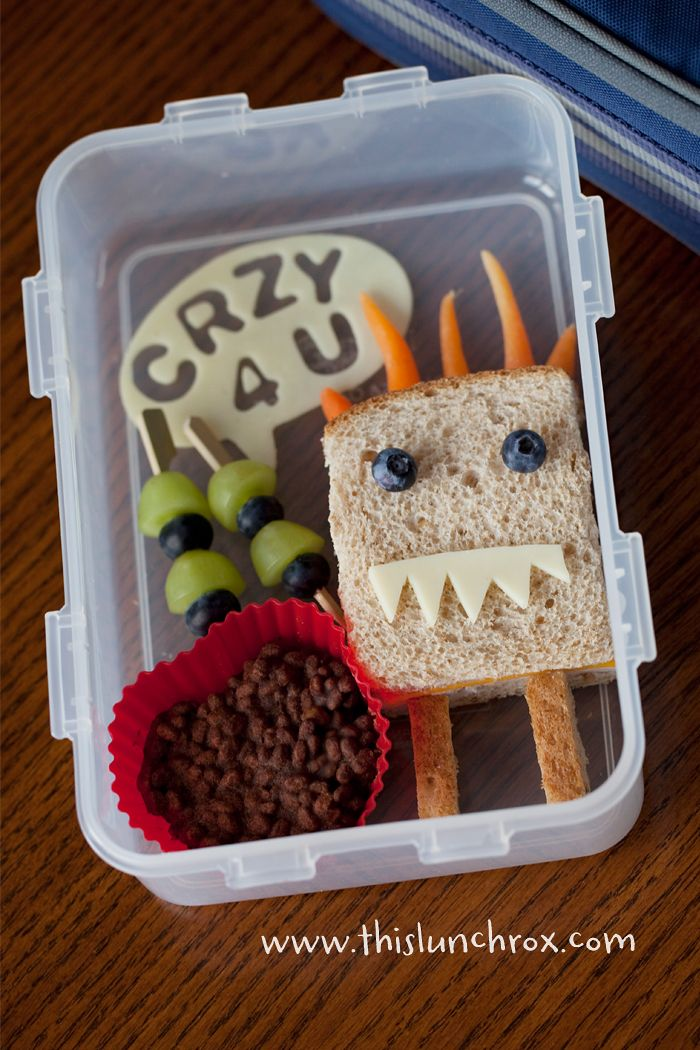monster love: Fun Food, Kids Lunches, Healthy Snacks, Cold Lunches, Lunches Boxes, Lunches Ideas, Healthy Schools Lunches, Skinny Lunches, Kids Food