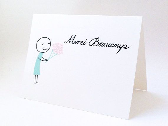 Cute thank you card wedding gift thank you note for Best thank you gifts for hostess