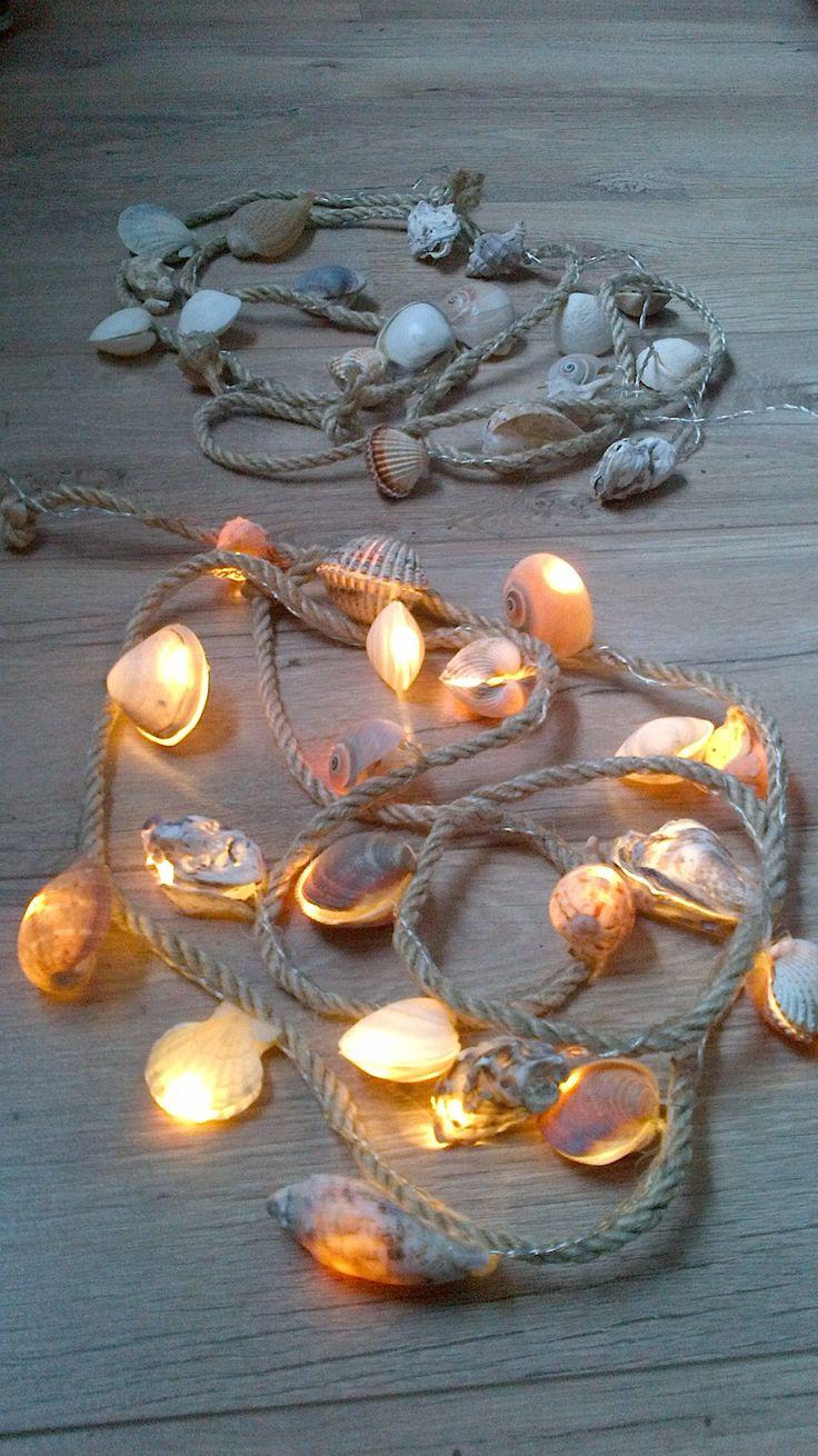 Schelpenkoort met lampjes