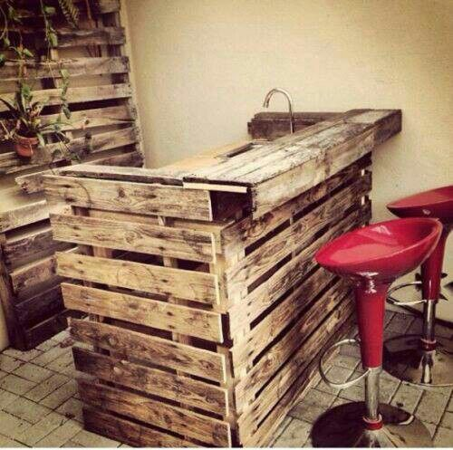Salvaged pallets repurposed into bar / sink / counter; Upcycle, Recycle, Salvage, diy.