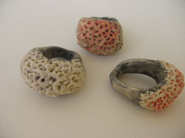 "Anna Chronaki- ceramic rings, from the ""Reef"" line."