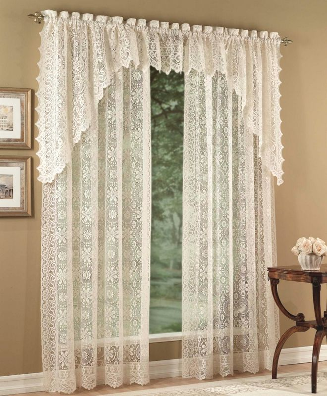 Hopewell Lace Curtain Panels White Lorraine