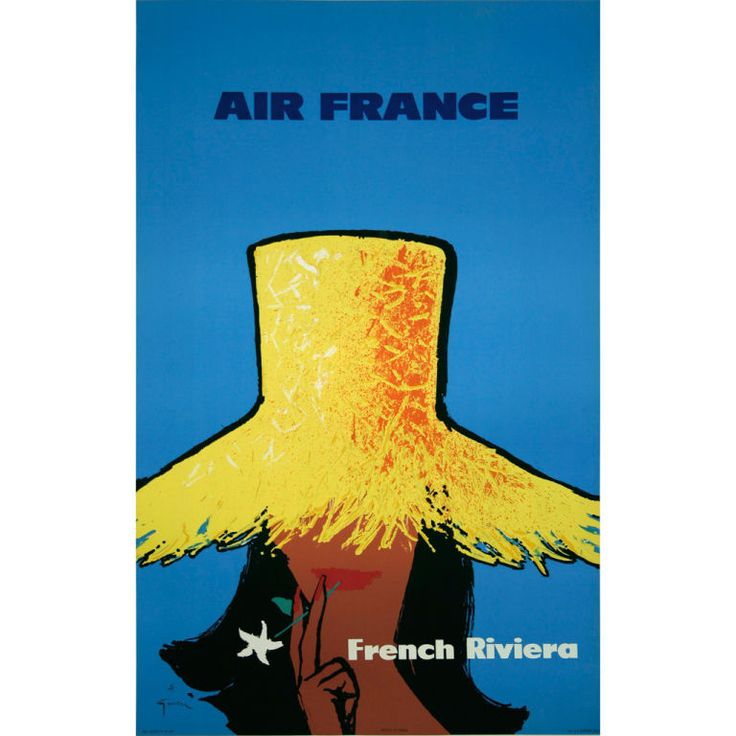 Air France-French Riviera, stone lithograph poster by Rene Gruau, 1962