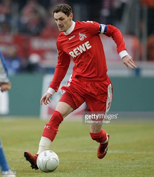 Milivoje Novakovic of Koeln runs with the ball during the Bundesliga match between 1 FC Koeln and Karlsruher SC at the Rhein Energie stadium on...
