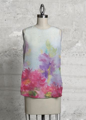 Purple autumn garden, This top, cut with a flattering A-line and a rounded asymmetric hem, will make you look and feel effortlessly beautiful - day or night.  #sleeveless #top #purple