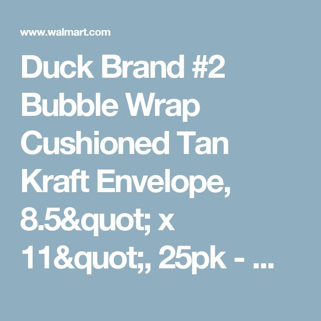 "Duck Brand #2 Bubble Wrap Cushioned Tan Kraft Envelope, 8.5"" x 11"", 25pk - Walmart.com"