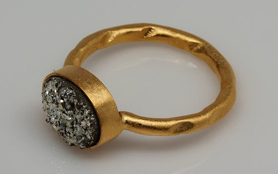 Raw Druzy Marcasite Ring, Drusy Ring, Raw Marcasite Ring, Natural Gemstone Ring, Vermeil Ring, Bezel Ring, Druzzy Ring, Oval Ring, Gold Ring