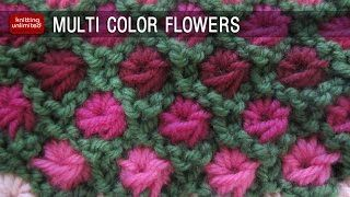 Multi-colour aster flower  Beautiful Knitting Stitches - YouTube