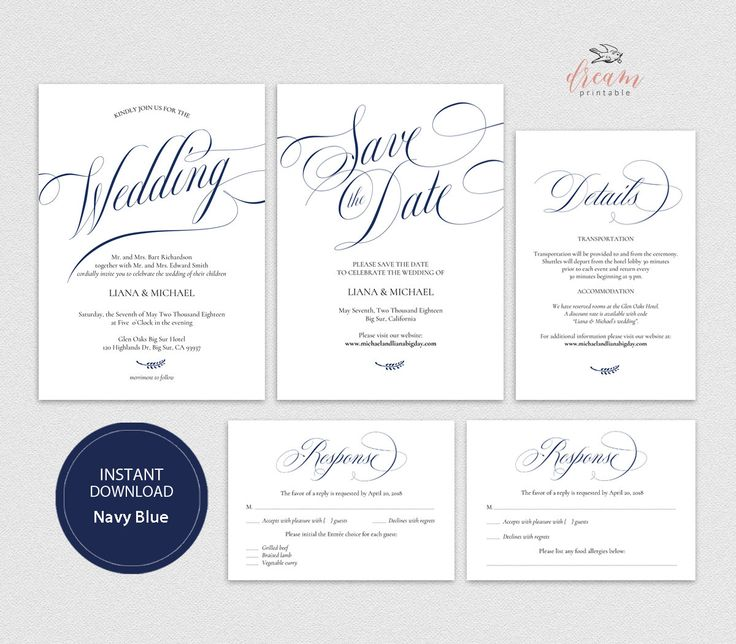 INSTANT DOWNLOAD Editable Pdf Template Set 5x7 Invitation, 4x6 Details, 3.5x5 Reply RSVP, 5x7 Save the date card Wedding Navy Blue #DP220_S1 by DreamPrintable on Etsy #wedding #instant #download #printable #image #graphic #digital #reception_sign #PDF #Template #wedding_ceremony #wedding_sign #Calligraphy #Sign #events #events_design #wedding_printable #wedding_design