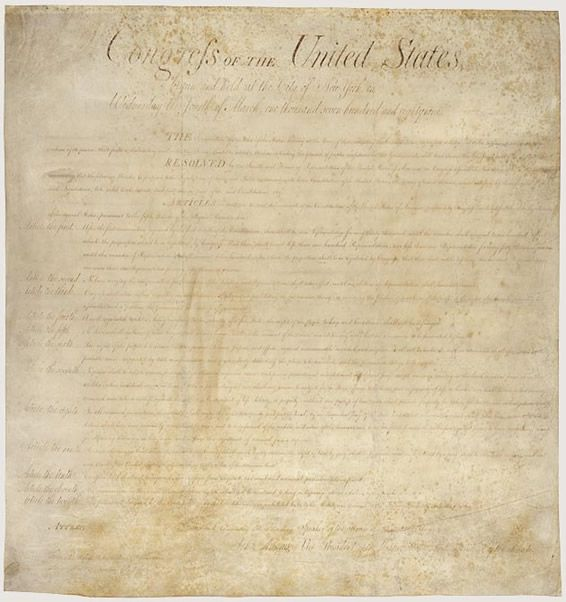 "This is an image from the following resource on the Internet4Classrooms' ""The United States Constitution"" resource page:    A List of Amendments to the US Constitution starting with the Bill of Rights.    A List of the 27 Amendments to the US Constitution starting with the Bill of Rights (Amendments 1-10).  Page also has an image of an original copy of the Bill of Rights."