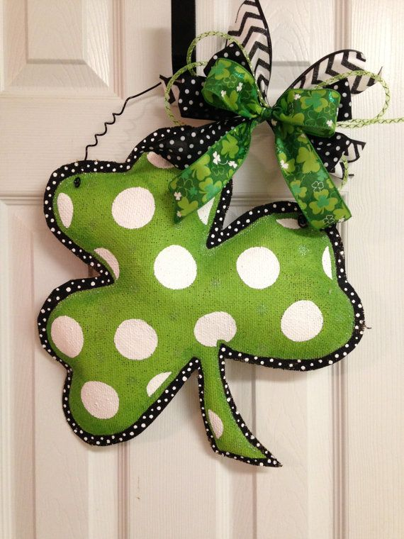 These cute door hangers are made from hand painted stuffed burlap perfect for St. Patricks Day. These measure 18 X16 and are great for