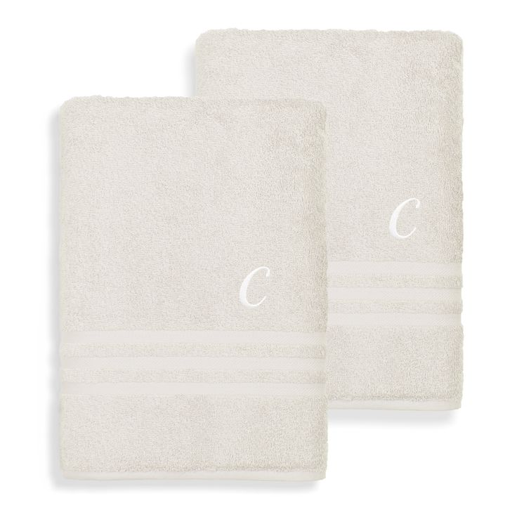 Authentic Hotel and Spa Omni Terry Set of 2 Cream Bath Towels with White Script Monogrammed Initial