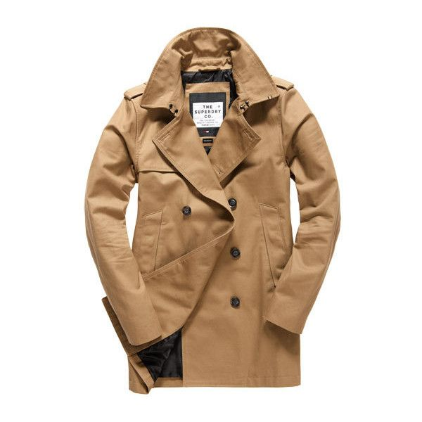 Superdry Rogue Trench Coat (1.100 HRK) ❤ liked on Polyvore featuring men's fashion, men's clothing, men's outerwear, men's coats, brown, mens brown trench coat, mens fur collar coat, mens coats and mens brown coat